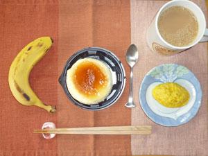 スフレチーズケーキ,プチオムレツ,バナナ,コーヒー