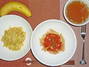 ペンネアラビアータ,キャベツと玉子の炒め物,オニオンスープ,バナナ