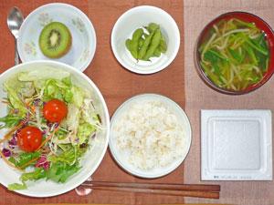納豆ご飯,サラダ,枝豆,モヤシとほうれん草のみそ汁,キウイフルーツ