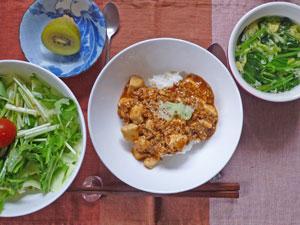 麻婆豆腐丼,サラダ,ほうれん草入り玉子スープ,キウイフルーツ