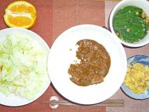 カレーライス,キャベツの蒸し物,ひき肉入りスクランブルエッグ,ほうれん草のスープ,オレンジ