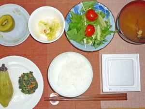 納豆ご飯,サラダ,焼きナス,ほうれん草の胡麻和え,白菜の漬物,みそ汁,キウイフルーツ