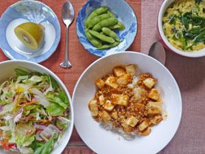 麻婆豆腐丼,サラダ,枝豆,ほうれん草と玉子のスープ,キウイフルーツ