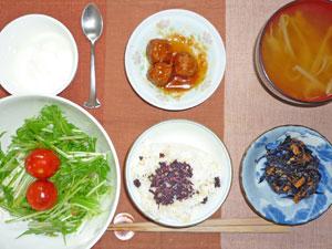 ゆかりご飯,ミートボール,ヒジキの煮物,サラダ,モヤシのみそ汁,ヨーグルト