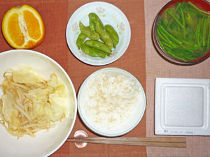 納豆ご飯,もやしとキャベツの炒め物,枝豆,ほうれん草のみそ汁,オレンジ