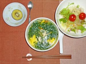 野菜スープご飯,サラダ,キウイフルーツ