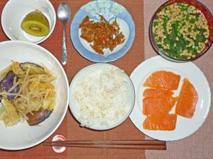 ご飯,鮭のお刺身,野菜炒め,キンピラゴボウ,納豆汁,キウイフルーツ