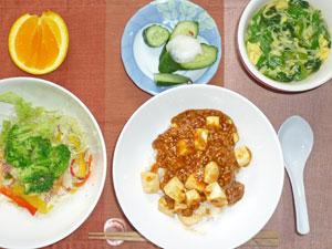 麻婆豆腐丼,サラダ,漬物,水菜とほうれん草のスープ,オレンジ