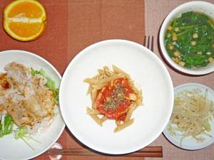 ペンネアラビアータ,豚しゃぶと水菜サラダ,もやしのおひたし,ほうれん草のスープ,オレンジ