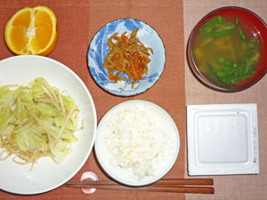 納豆ご飯,野菜炒め,キンピラゴボウ,ほうれん草のみそ汁,オレンジ