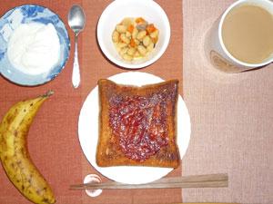 イチゴジャムトースト,煮豆,ヨーグルト,バナナ,コーヒー