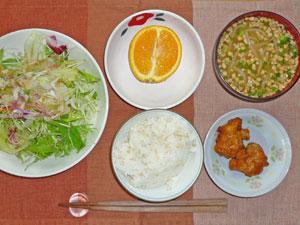 ご飯,鶏のから揚げ,サラダ,納豆汁,オレンジ