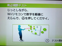 Wii Fit Plus 7月20日のバランス年齢 21歳 周辺視野テスト説明