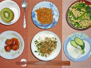 ふりかけご飯,肉団子,ほうれん草の納豆汁,キンピラゴボウ,漬物,キウイフルーツ