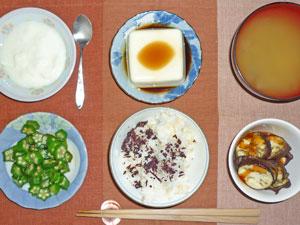 ご飯,オクラのおひたし,焼き茄子,冷ややっこ,玉ねぎのみそ汁,ヨーグルト