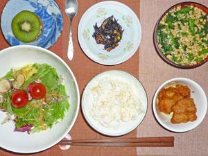 ご飯,サラダ,唐揚げ,ヒジキの煮物,納豆汁,キウイフルーツ