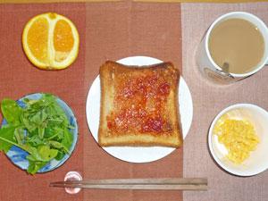 イチゴジャムトースト,スクランブルエッグ,プチサラダ,オレンジ,コーヒー