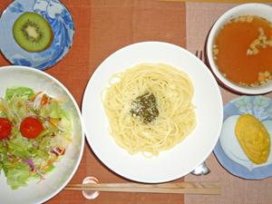 バジルスパゲティ,サラダ,プチオムレツ,オニオンスープ,キウイフルーツ