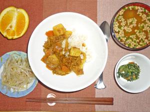 カレーライス,もやしのおひたし,ほうれん草の胡麻和え,納豆汁,オレンジ