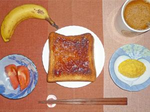 イチゴジャムトースト,トマト,プチオムレツ,バナナ,コーヒー