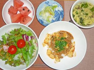 麻婆豆腐丼,サラダ,漬物,玉子スープ,スイカ