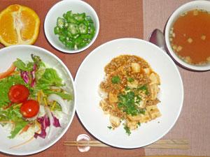 麻婆豆腐丼,サラダ,オクラ,オニオンスープ,ネーブルオレンジ
