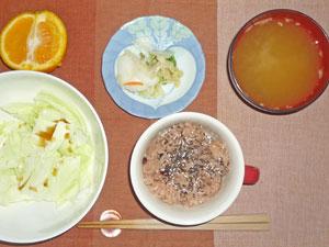 赤飯,蒸しキャベツ,漬物,納豆汁,オレンジ