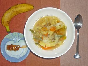 ポトフ風スープ,バナナ,焼き鳥