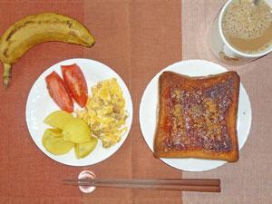 イチゴジャムトースト,蒸かしイモ,スクランブルエッグ,トマト,バナナ,コーヒー