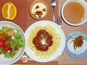 スパゲティ・ミートソース,サラダ,キンピラゴボウ,豆腐餅,コンソメスープ,オレンジ