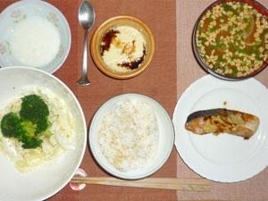 ご飯,ぶりの生姜焼き,蒸し野菜,豆腐餅,納豆汁,ヨーグルト