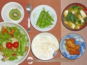 ご飯,鶏の唐揚げ,サラダ,枝豆,ほうれん草と豆腐のみそ汁,キウイフルーツ