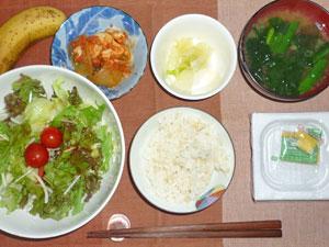納豆ご飯,サラダ,鶏肉と玉ねぎのトマト煮込み,漬物,ほうれん草のみそ汁,バナナ