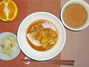 薬膳カレーライス,トマトスープ,漬物,オレンジ
