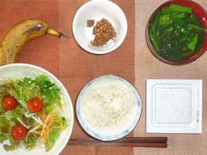 納豆ご飯,サラダ,高キビ,ほうれん草のみそ汁,バナナ