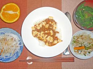 麻婆豆腐丼,野菜炒め,大根サラダ,ほうれん草のみそ汁,オレンジ