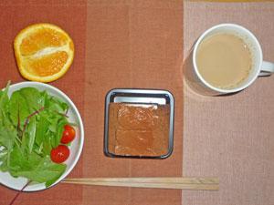 チョコロールケーキ,サラダ,オレンジ,コーヒー