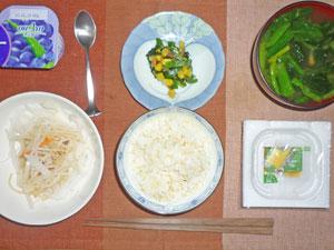 納豆ご飯,大根サラダ,ほうれん草のソテー,ほうれん草のみそ汁,ヨーグルト