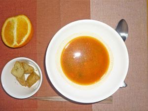 トマトスープ,あげジャガ,オレンジ