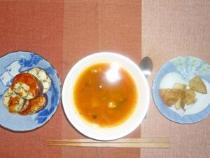 ミネストローネ風スープ,あげジャガ,焼きナス