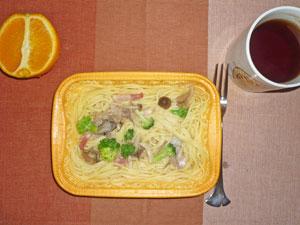 スパゲティ・カルボナーラ,オレンジ,紅茶