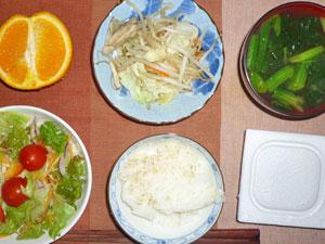 納豆ご飯,野菜炒め,サラダ,ほうれん草のみそ汁,オレンジ