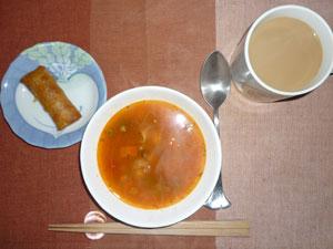 ミネストローネスープ,春巻き,コーヒー