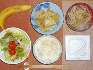 納豆ご飯,野菜炒め,サラダ,もやしのみそ汁,バナナ