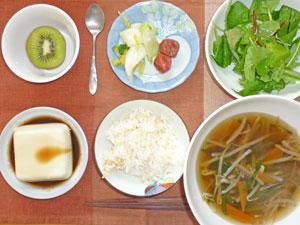 ご飯,梅干し,白菜の漬物,グリーンサラダ,豆腐,野菜スープ,キウイフルーツ