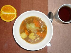 スープカレーライス,オレンジ,紅茶