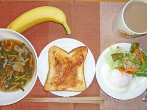 イチゴジャムトースト,キノコスープ,目玉焼き,サラダ,バナナ,コーヒー