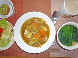 スープカレーライス,サラダ,ほうれん草のスープ,キウイフルーツ,紅茶