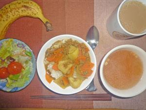 カレーライス,サラダ,オニオンスープ,バナナ,コーヒー