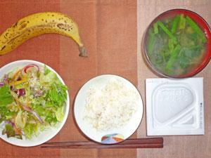 納豆ご飯,サラダ,ほうれん草のみそ汁,バナナ,コーヒー